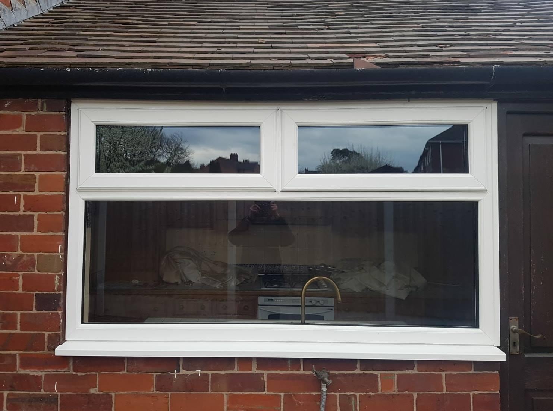 WHITE UPVC GARAGE WINDOW