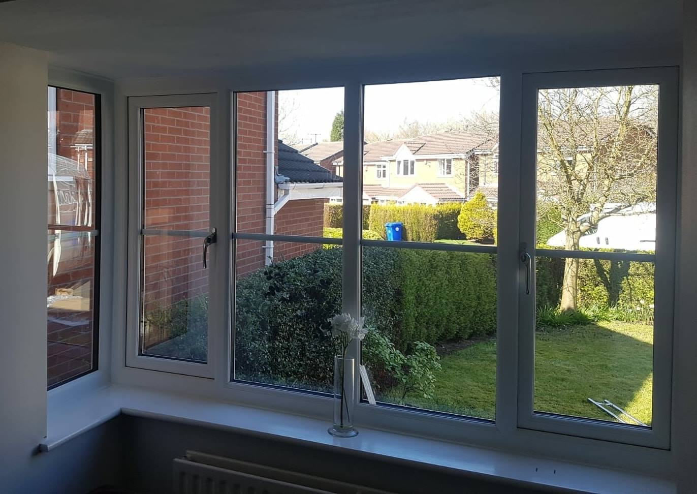 WHITE UPVC SQUARE BAY WINDOW INTERNAL